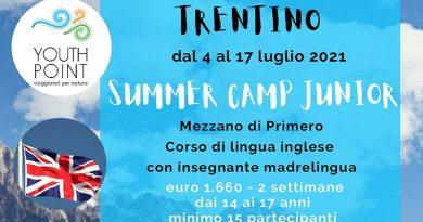 Trentino Summer Camp Junior dal 4 al 17 luglio 2021